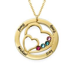 Cirkelformet hjertesmykke med fødselssten i forgyldt sølv produkt billede