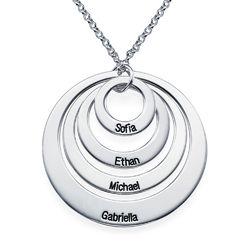Morsmykke med fire cirkler og indgravering i sølv produkt billede