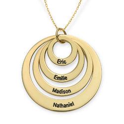 Morsmykke med fire cirkler og indgravering i 10 karat guld produkt billede