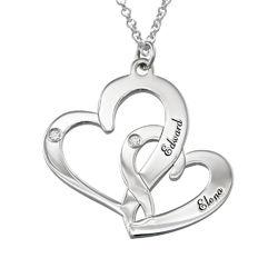 Indgraveret dobbelt-hjertehalskæde med fødselssten i sølv med produkt billede