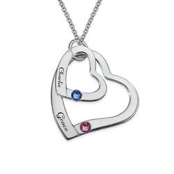 Månedstens-Halskæde med Løse Hjerte-i-Hjertevedhæng produkt billede