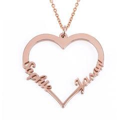 Hjerte halskæde i 18 karat rosaforgyldt sølv produkt billede