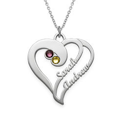 To hjerter for evigt-halskæde i sølv produkt billede