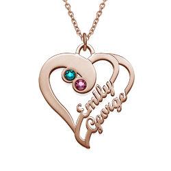 To hjerter for evigt-halskæde i rosaforgyldt sølv produkt billede