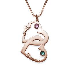 Hjerte i hjerte halskæde med udskårne navne og fødselssten i produkt billede