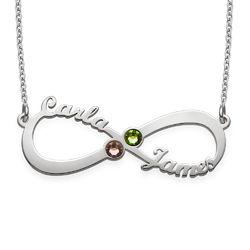 Infinity-halskæde med navne og månedssten i sølv produkt billede