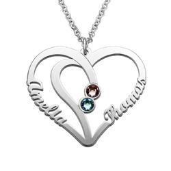 Hjerteformet kæreste halskæde med navne og fødselssten i sølv product photo