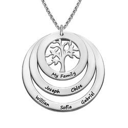 Rundt familie smykke med livets træ i sølv product photo