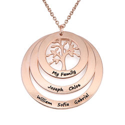 Rundt familie smykke med livets træ I rosaforgyldt sølv produkt billede