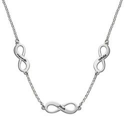 Infinity halskæde med flere vedhæng i sterlingsølv produkt billede