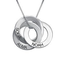 Russisk ring-halskæde med indgravering i sølv produkt billede