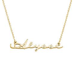 Navnehalskæde i signatur-stil - guld vermeil produkt billede
