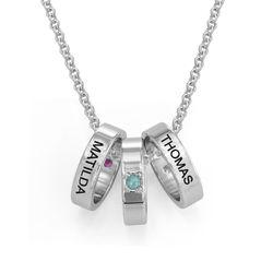 Mor halskæde med ringe og fødselssten i sølv produkt billede