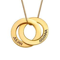 Russisk ring-halskæde med to ringe i forgyldt sølv produkt billede