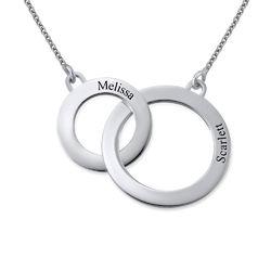 Indgraveret cirkel halskæde i sølv produkt billede