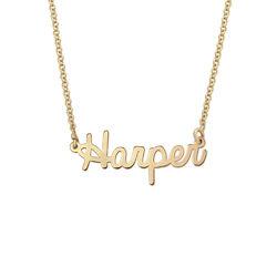 Personlige mini smykker - Kursiv navnehalskæde 18K guldbelægning produkt billede