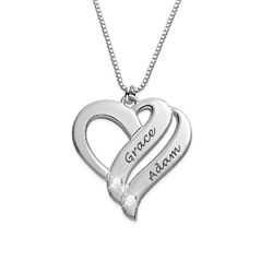 To hjerter banker som ét for evigt-diamant halskæde i Sterling sølv produkt billede