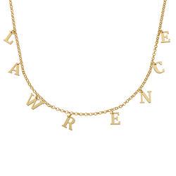 Choker halskæde med initialer i forgyldt sølv produkt billede