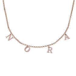 Choker halskæde med initialer i rosaforgyldt sølv product photo