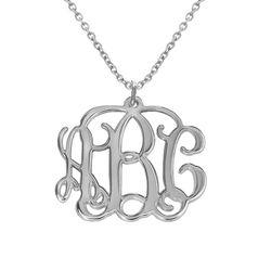 Monogram halskæde med initialer i sølv produkt billede