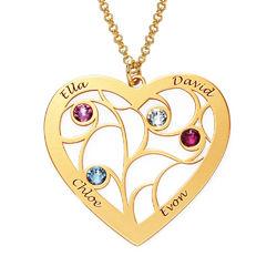 Hjerteformet livets træ halskæde med månedssten i guld vermeil produkt billede