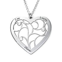 Hjerteformet livets træ halskæde med diamanter i sterlingsølv produkt billede
