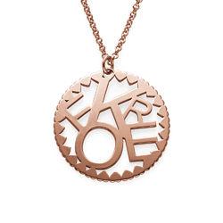 Cirkelformet halskæde med bogstaver i rosaforgyldt sølv produkt billede