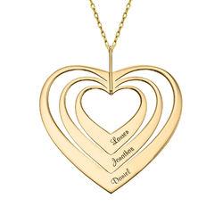 Hjerteformet familiehalskæde med navne i 10 karat guld product photo