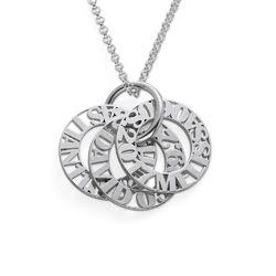 Cirkelformet halskæde med bogstaver til mor i sterlingsølv produkt billede