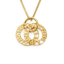 Cirkelformet halskæde med bogstaver til mor i forgyldt sølv product photo