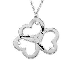 Triple-hjertesmykke til mor med diamant i sølv produkt billede