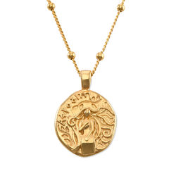 Aphrodite Mønt Halskæde i forgyldt sølv produkt billede