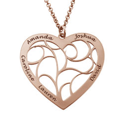 Hjerteformet livets træ halskæde i rosaforgyldt sølv produkt billede