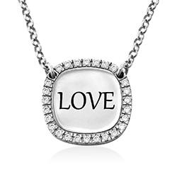 Personlig Halskæde med firkant og Zirconia i sølv produkt billede