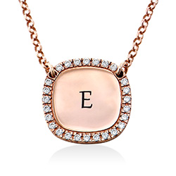 Personlig Halskæde med firkant og Zirconia Sten - Rosaforgyldt produkt billede
