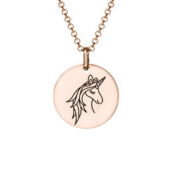 Enhjørning Halskæde i rosaforgyldt sølv produkt billede