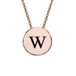 Cirkel halskæde med bogstav - rosaforgyldt product photo