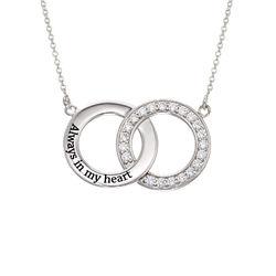 Indgraveret cirkel halskæde med kubisk zirkonia i sølv produkt billede