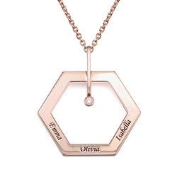 Personlig halskæde med heksagon og gravering - rosaforgyldt produkt billede
