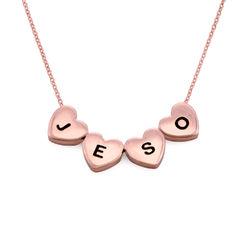Hjertehalskæde med bokstaver i rosaforgyldt sølv product photo