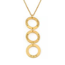 Indgraveret halskæde med 3 cirkel vedhæng i forgyldt sølv produkt billede