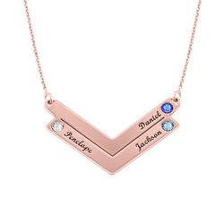 Familie halskæde med gravering i rosaforgyldt sølv product photo