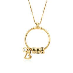 Linda Familie halskæde med indgraverede vedhæng og blad i guld vermeil produkt billede