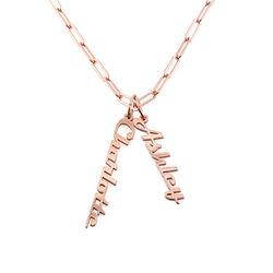 Link halskæde med navn 18kt. rosaforgyldt produkt billede