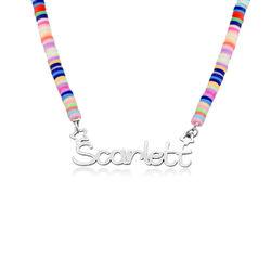 Regnbue halskæde til piger med navn i sølv produkt billede