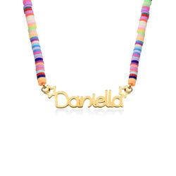 Regnbue halskæde til piger med navn - forgyldt produkt billede