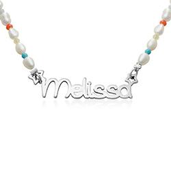 Perlehalskæde til piger med navn i sterlingsølv produkt billede