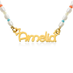 Perlehalskæde til piger med navn - forgyldt produkt billede