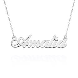 Lille klassisk navnehalskæde med 0,05 ct sterling sølv diamant produkt billede