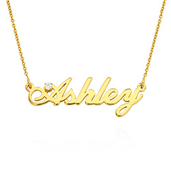Lille klassisk navnehalskæde med 0,05 ct diamant i guldbelægning produkt billede